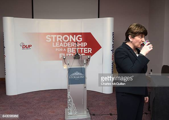 DUP leader and former First Minister Arlene Foster suffering from a heavy cold drinks a cup of tea before launching the Democratic Unionist Party's...