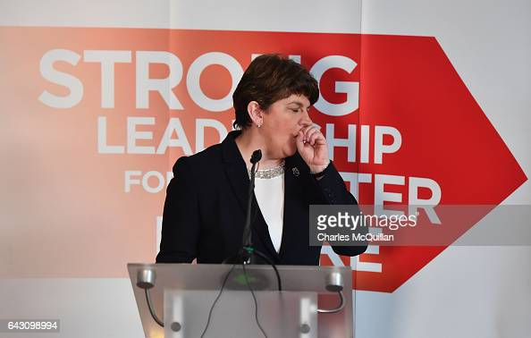 DUP leader and former First Minister Arlene Foster suffering from a heavy cold launches the Democratic Unionist Party's manifesto at the Stormont...