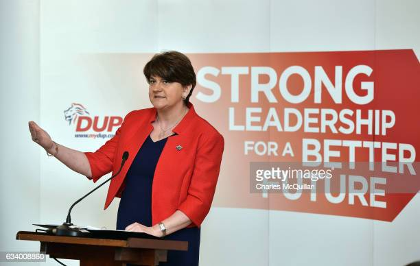 DUP leader and former Northern Ireland First Minister Arlene Foster pictured making her keynote speech at the Democratic Unionist Party election...
