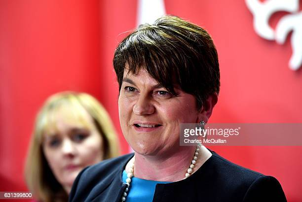 DUP leader and Northern Ireland First Minister Arlene Foster holds a press conference at the Democratic Unionist Party offices on January 10 2017 in...