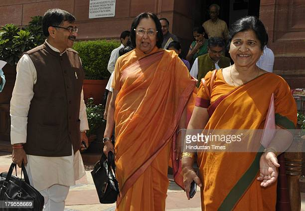 Leader and Rajya Sabha MP Najma Heptulla Tarun Vijay and Rajya Sabha MP from Himachal Pradesh Bimla Kashyap Sood after attending the ongoing...