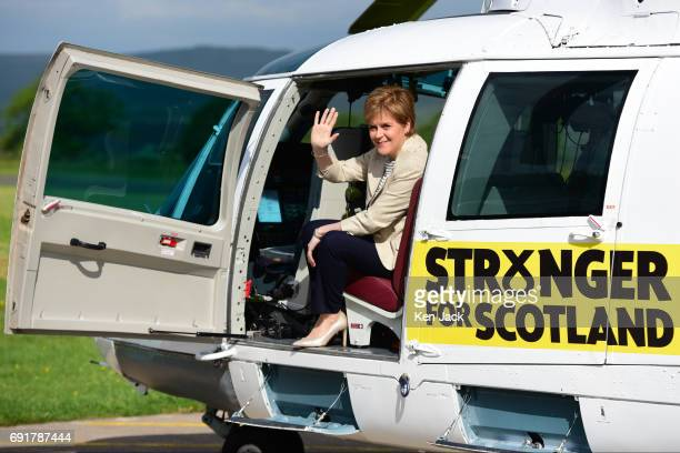 SNP leader and Scottish First Minister Nicola Sturgeon embarks on a threeday helicopter tour of Scottish constituencies in the final days of...