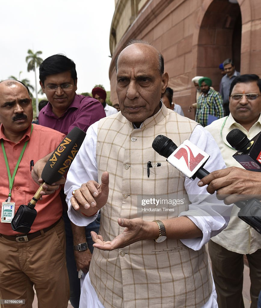 BJP leader and Union Home Minister Rajnath Singh outside parliament during the parliament session on May 3, 2016 in New Delhi, India. With the BJP mounting an offensive against Congress vice-president on the AgustaWestland VVIP chopper bribery case, Rahul Gandhi on Wednesday said he is happy to be targeted.