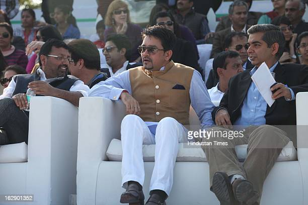 Leader Anuraag Thakur during M3M Maharaja JiwajiRao Scindia Gold Cup 2013 at Jaipur Polo Ground on February 24 2013 in New Delhi India