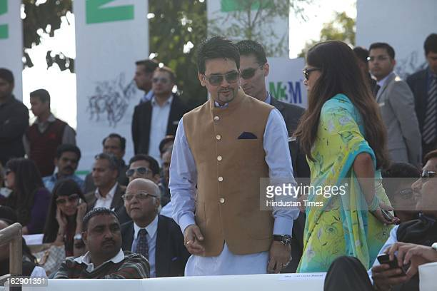 Leader Anuraag Thakur with Yashodhara Raje Scindia during M3M Maharaja JiwajiRao Scindia Gold Cup 2013 at Jaipur Polo Ground on February 24 2013 in...