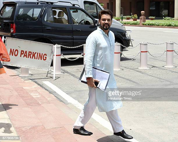 BJP leader Anurag Thakur during the Monsoon Session at Parliament House Annexe on July 19 2016 in New Delhi India