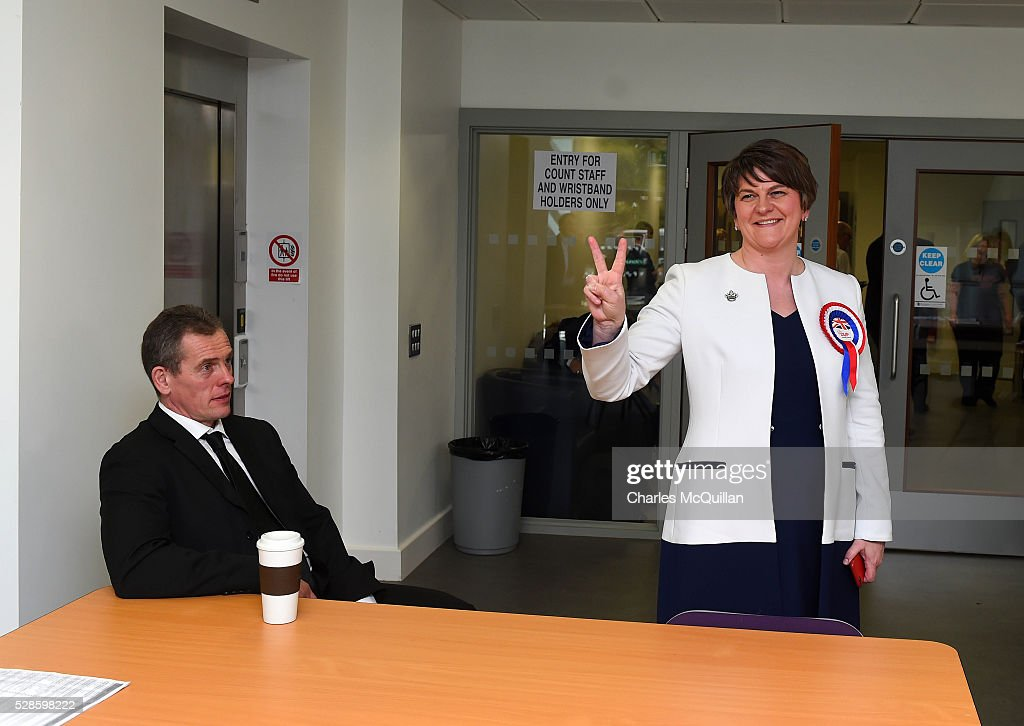 DUP leader Arlene Foster (R) after being elected at the Northern Ireland Assembly count at Omagh Leisure on May 6, 2016 in Omagh, Northern Ireland. Two hundred and seventy six candidates are contesting 108 seats across the province. The Democratic Unionist Party are predicted to return as the largest political party in the province with Arlene Foster also returned as First Minister of the power sharing government with Sinn Fein the second largest party.