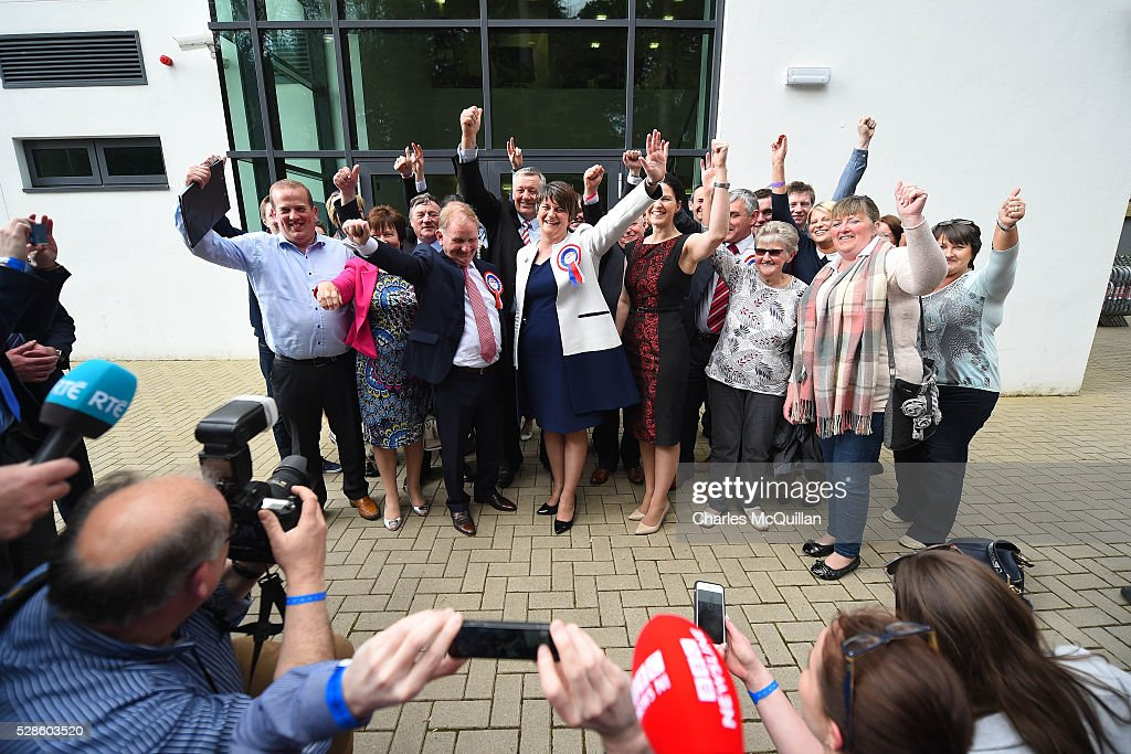 DUP leader Arlene Foster (C) celebrates with party members after being elected at the Northern Ireland Assembly count at Omagh Leisure on May 6, 2016 in Omagh, Northern Ireland. Two hundred and seventy six candidates are contesting 108 seats across the province. The Democratic Unionist Party are predicted to return as the largest political party in the province with Arlene Foster also returned as First Minister of the power sharing government with Sinn Fein the second largest party.