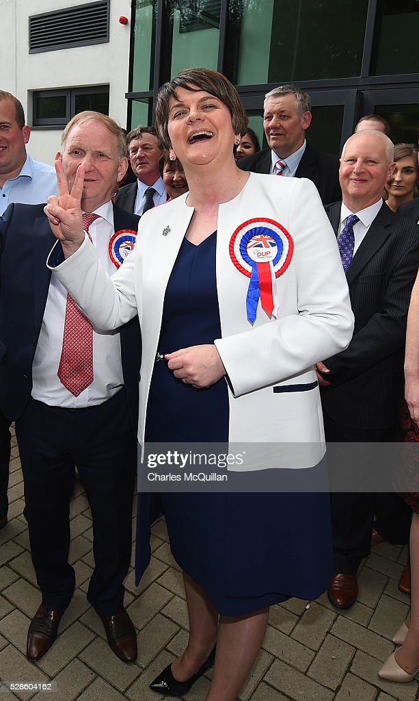 DUP leader Arlene Foster celebrates with party members after being elected at the Northern Ireland Assembly count at Omagh Leisure on May 6, 2016 in Omagh, Northern Ireland. Two hundred and seventy six candidates are contesting 108 seats across the province. The Democratic Unionist Party are predicted to return as the largest political party in the province with Arlene Foster also returned as First Minister of the power sharing government with Sinn Fein the second largest party.