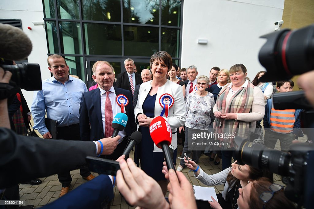DUP leader Arlene Foster (C) gives a press conference after being elected at the Northern Ireland Assembly count at Omagh Leisure on May 6, 2016 in Omagh, Northern Ireland. Two hundred and seventy six candidates are contesting 108 seats across the province. The Democratic Unionist Party are predicted to return as the largest political party in the province with Arlene Foster also returned as First Minister of the power sharing government with Sinn Fein the second largest party.