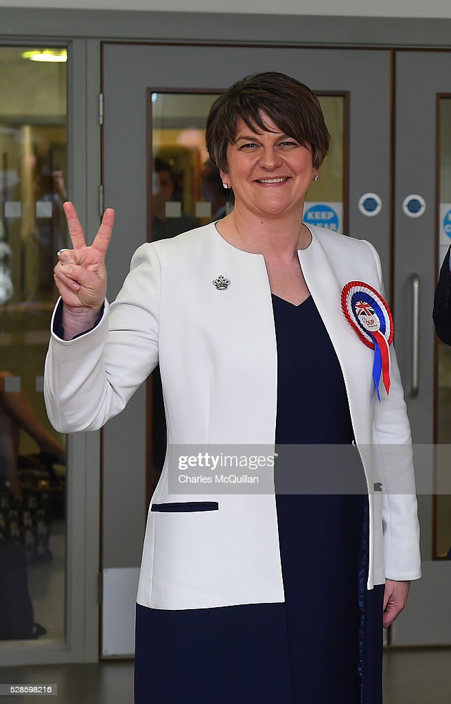 DUP leader Arlene Foster gives a victory sign after being elected at the Northern Ireland Assembly count at Omagh Leisure on May 6, 2016 in Omagh, Northern Ireland. Two hundred and seventy six candidates are contesting 108 seats across the province. The Democratic Unionist Party are predicted to return as the largest political party in the province with Arlene Foster also returned as First Minister of the power sharing government with Sinn Fein the second largest party.