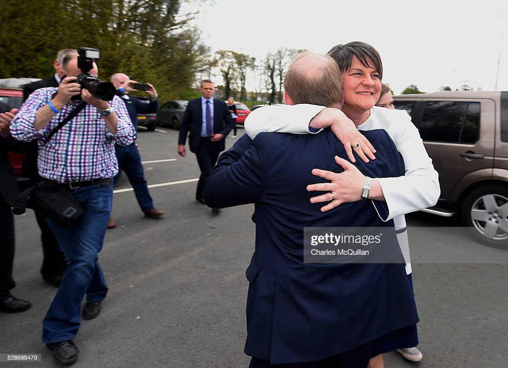 DUP leader Arlene Foster is welcomed by party members as she arrives at the Northern Ireland Assembly elections count at Omagh Leisure on May 6, 2016 in Omagh, Northern Ireland. 276 candidates are contesting 108 seats across the province. The Democratic Unionist Party are predicted to return as the largest political party in the province with Arlene Foster also returned as First Minister of the power sharing government with Sinn Fein the second largest party.