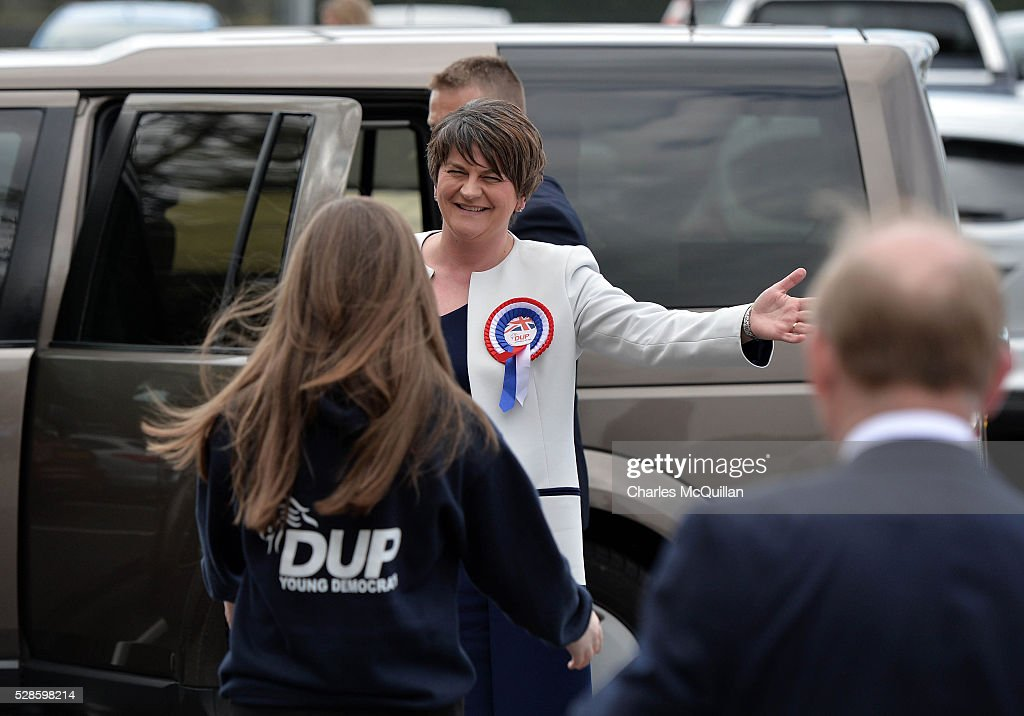 DUP leader Arlene Foster is welcomed by party members as she arrives at the Northern Ireland Assembly elections count at Omagh Leisure on May 6, 2016 in Omagh, Northern Ireland. Two hundred and seventy six candidates are contesting 108 seats across the province. The Democratic Unionist Party are predicted to return as the largest political party in the province with Arlene Foster also returned as First Minister of the power sharing government with Sinn Fein the second largest party.