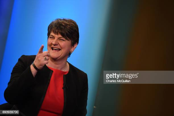 DUP leader Arlene Foster jokes during a television interview at the Belfast count centre on June 9 2017 in Belfast Northern Ireland After a snap...