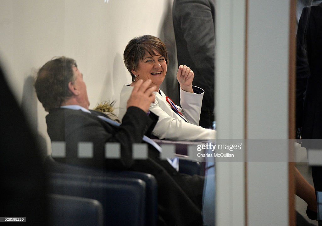 DUP leader Arlene Foster (2nd L) jokes with party members after being elected at the Northern Ireland Assembly count at Omagh Leisure on May 6, 2016 in Omagh, Northern Ireland. Two hundred and seventy six candidates are contesting 108 seats across the province. The Democratic Unionist Party are predicted to return as the largest political party in the province with Arlene Foster also returned as First Minister of the power sharing government with Sinn Fein the second largest party.