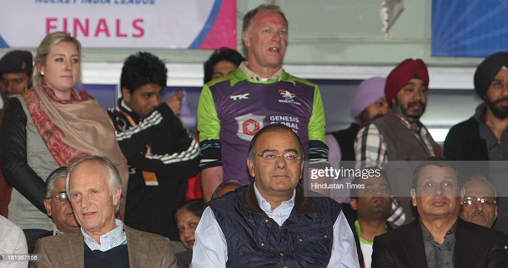 BJP leader Arun Jatley watching the final match between Ranchi Rhinos and Delhi Waveriders teams during the Hockey India League (HIL) final match at Astro stadium on February 10, 2013 in Ranchi, India.