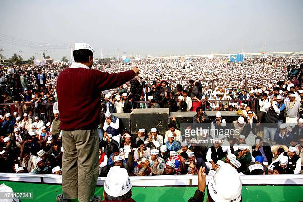 "AAP leader Arvind Kejriwal addressing a public meeting in Sector6 on February 23 2014 in Rohtak India Kejriwal said ""Wherever in Haryana you go there..."