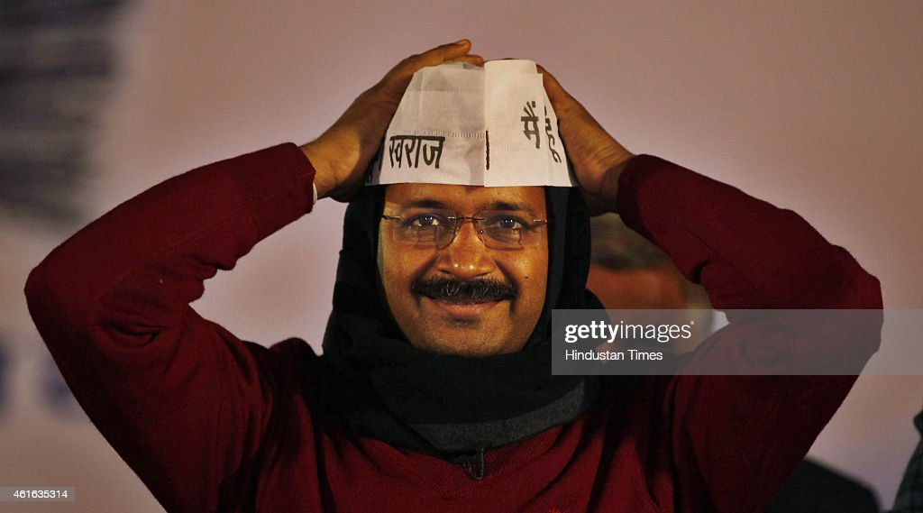 AAP leader Arvind Kejriwal during Delhi Dialogue during an election rally ahead of the upcoming Delhi Assembly Elections 2015 at Trilokpuri on January 16, 2015 in New Delhi, India. Accusing BJP of razing slums, Aam Aadmi Party today promised pucca houses for slum dwellers and freehold rights to the lease holders at affordable rates, as it presented its agenda for 15 lakh residents of 45 resettlement colonies in the national capital.