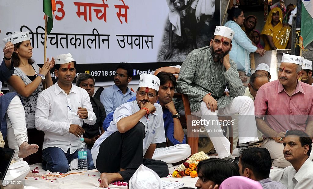 AAP leader Arvind Kejriwal launched his indefinite fast and 'Civil Disobedience Movement' from Sunder Nagri from a north-east Delhi on March 23, 2013 in New Delhi, India. Kejriwal asked Delhi residents not to pay 'illegal' power and water bills, promising that any legal action against them would be revoked once his party comes to power in the city.