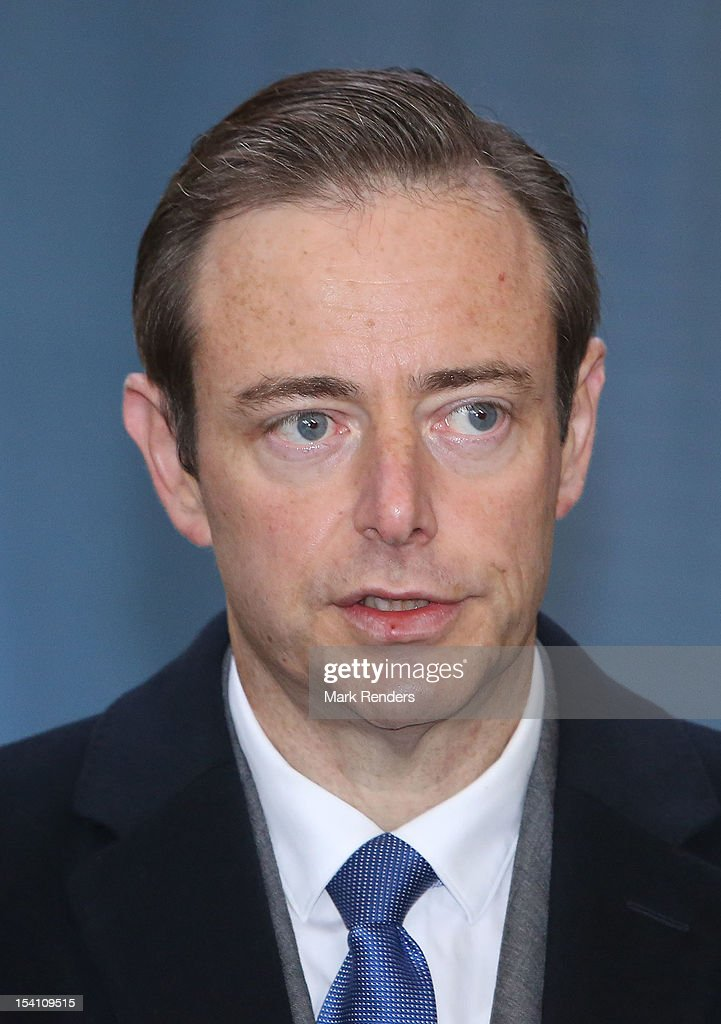 NVA Leader <a gi-track='captionPersonalityLinkClicked' href=/galleries/search?phrase=Bart+De+Wever&family=editorial&specificpeople=4468971 ng-click='$event.stopPropagation()'>Bart De Wever</a> votes in the Regional Elections in Deurne on October 14, 2012 in Antwerpen, Belgium.