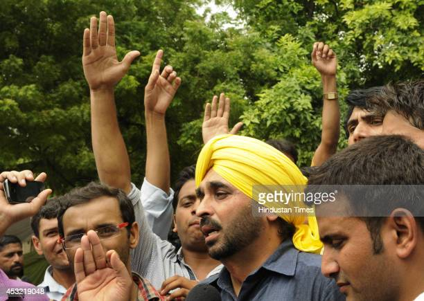 AAP leader Bhagwant Mann addressing UPSC aspirants during their protest demanding scrapping of CSAT at Jantar Mantar on August 5 2014 in New Delhi...