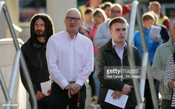 PUP Leader Billy Hutchenson is seen as hundreds gather at Belfast City Hall tonight to pray for peace in the middle East and an end to other Global...