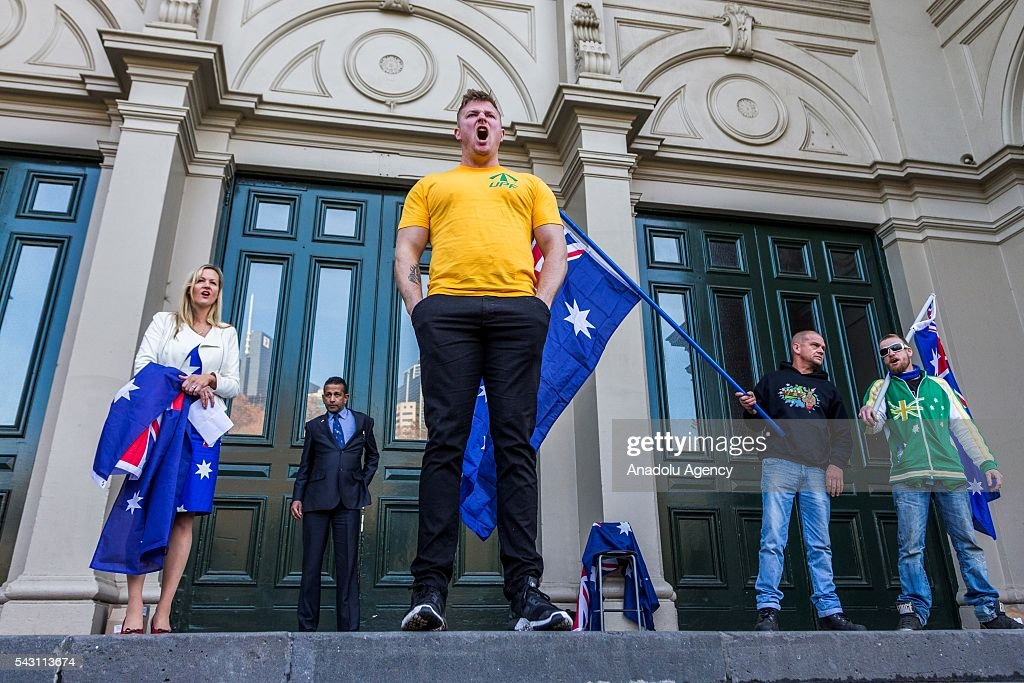 UPF leader Blair Cottrell addresses the crowd shouting slogans to the True Blue Crew during a protest organized by the anti-Islam True Blue Crew supported by the United Patriots Front in Melbourne, Australia on June 26, 2016.