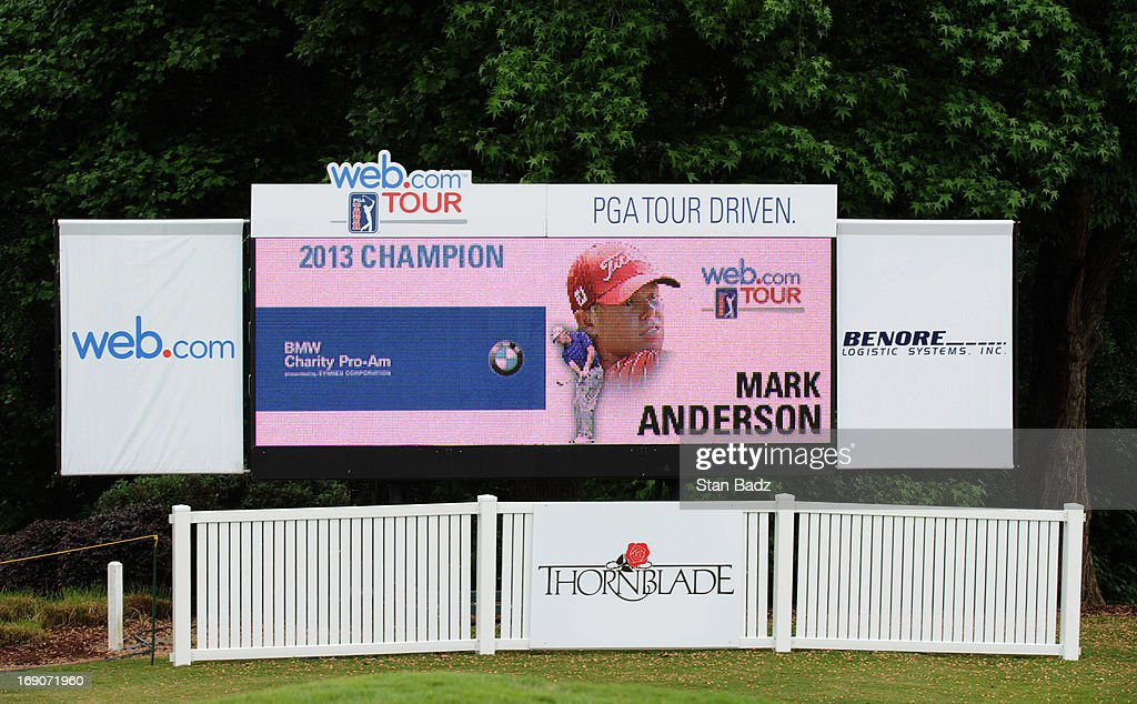 A leader board display Mark Anderson as the winner on the 18th hole during of the BMW Charity Pro-Am Presented by SYNNEX Corporation at the Thornblade Club on May 19, 2013 in Greer, South Carolina.