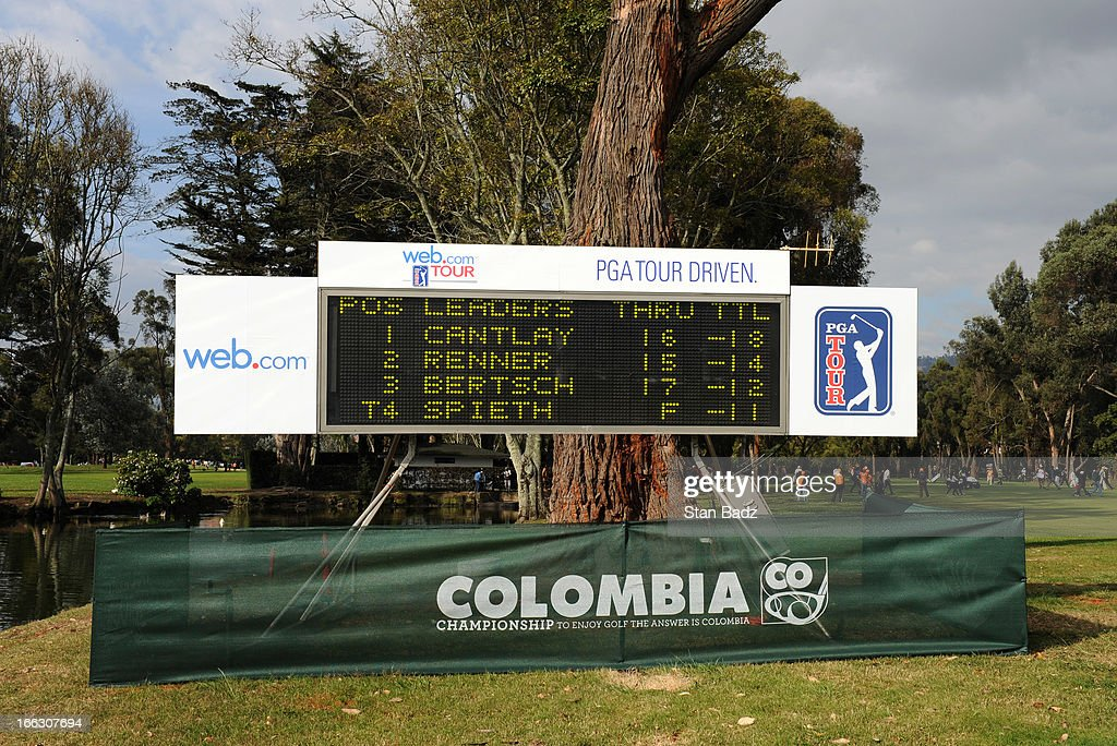 A leader board displays scores on the 18th hole during the final round of the Colombia Championship at Country Club de Bogota on March 3, 2013 in Bogota, Colombia.