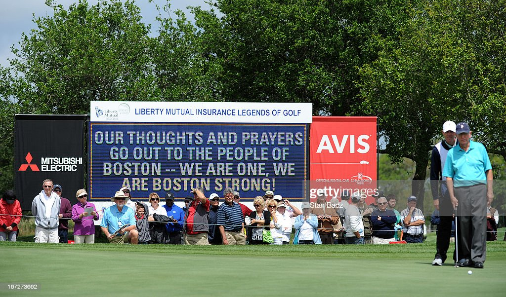 A leader board on the 18th hole displays 'We Are One, We Are Boston Strong' during the final round of the Demaret Division at the Liberty Mutual Insurance Legends of Golf at The Westin Savannah Harbor Golf Resort & Spa on April 23, 2013 in Savannah, Georgia.