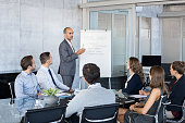Confident mature businessman giving a presentation to his team in modern office. Business brief with annual goals with employees. Leadership man training businessmen and businesswomen in conference ro