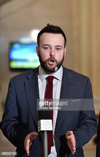SDLP leader Colum Eastwood reacts to the latest developments during a press conference regarding the RHI crisis at Stormont on December 19 2016 in...
