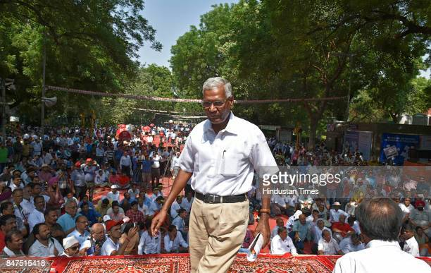 M leader D Raja during a protest rally against antipeople banking reform at Jantar Mantar on September 15 2017 in New Delhi India