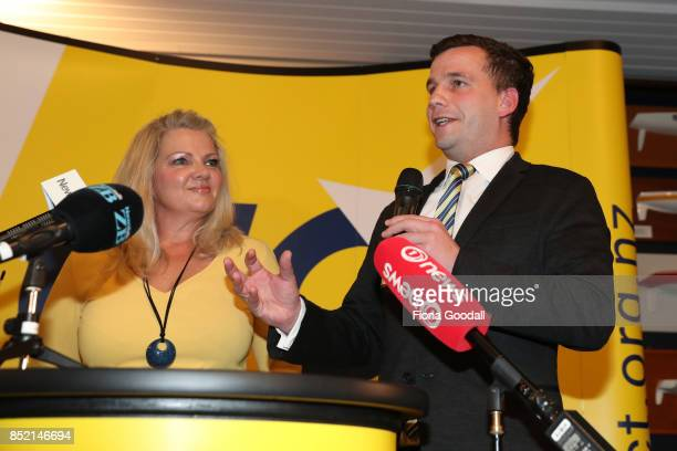 ACT leader David Seymour arrives to speak to supporters at the Royal New Zealand Yacht Squadron on September 23 2017 in Auckland New Zealand Voters...