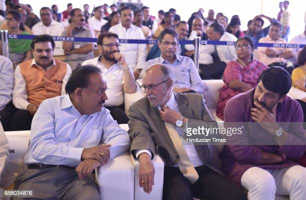 BJP leader Dr Harshvardhan and Delhi LG Anil Baijal Manoj Tiwari and others during the celebration on the occasion of 'Ugadi' according to Hindu...