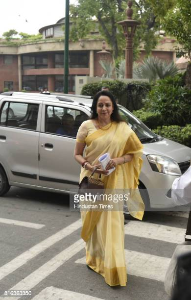 BJP leader Hema Malini arrives to cast her vote for the presidential election on the first day of the monsoon session at Parliament on July 17 2017...
