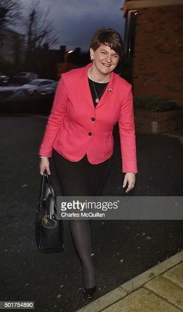 DUP leader in waiting Arlene Foster smiles as she arrives at the Park Avenue hotel ahead of the Democratic Unionist Party electoral college meeting...