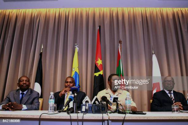 leader Isaias Samakuva takes part in a press conference by Angolan opposition leaders demanding a new tally for the presidential elections on...