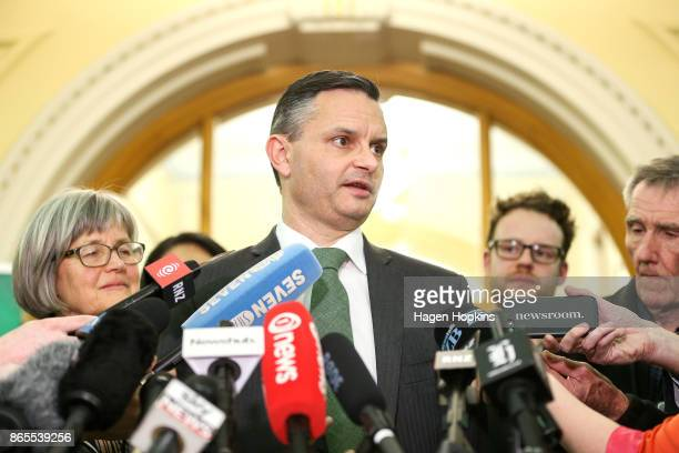 Leader James Shaw speaks during a Green Party press conference at Parliament on October 19 2017 in Wellington New Zealand After weeks of coalition...