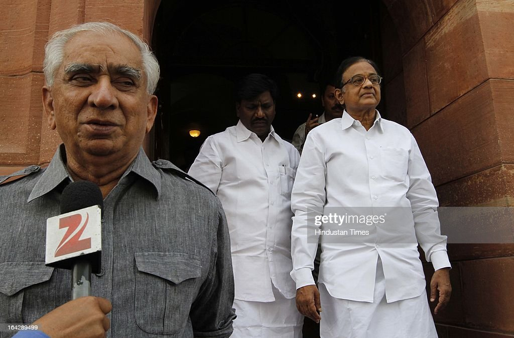 BJP Leader Jaswant Singh with P Chidambaram Union Finance Minister at Parliament house for ongoing Budget Session on March 22, 2013 in New Delhi, India. The Lok Sabha failed to transact any business for the third consecutive day as proceedings remained paralysed over the Sri Lankan Tamils issue.
