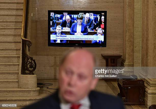 TUV leader Jim Allister addresses the media as Northern Ireland First Minister Arlene Foster is seen on a television broadcast at Stormont on...