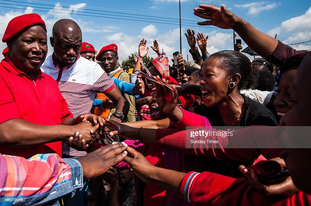 EFF leader, <a gi-track='captionPersonalityLinkClicked' href=/galleries/search?phrase=Julius+Malema&family=editorial&specificpeople=5866727 ng-click='$event.stopPropagation()'>Julius Malema</a> during an election rally on April 18, 2014 in South Africa. Malema travelled to the Free State over the weekend as part of the partys election campaign. He visited communities in and around Bloemfontein, Bethlehem and Qwa Qwa ahead of the elections on May 7, 2014.