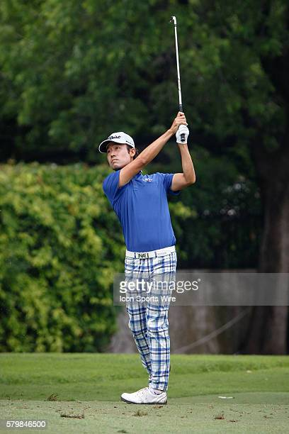 Leader Kevin Na hits his approach at during the second round of the Crowne Plaza Invitational at Colonial in Fort Worth TX