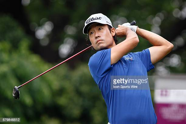 Leader Kevin Na hits his tee shot on during the second round of the Crowne Plaza Invitational at Colonial in Fort Worth TX