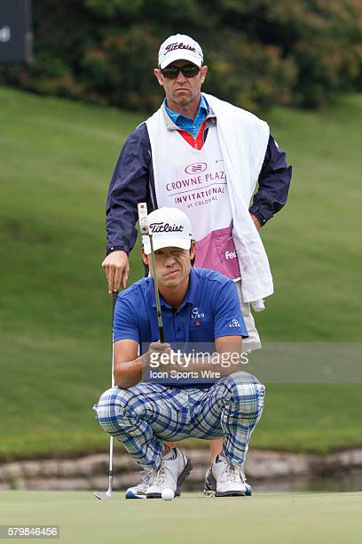 Leader Kevin Na lines up his birdie putt on during the second round of the Crowne Plaza Invitational at Colonial in Fort Worth TX