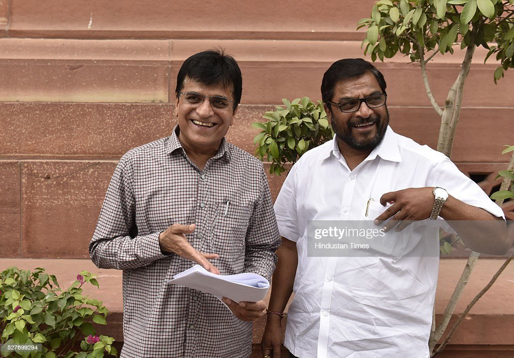 The BJP leader Kirit Somaiya (L) with Swabhimani Paksha leader Raju Shetty outside parliament during the parliament session on May 3, 2016 in New Delhi, India. With the BJP mounting an offensive against Congress vice-president on the AgustaWestland VVIP chopper bribery case, Rahul Gandhi on Wednesday said he is happy to be targeted.