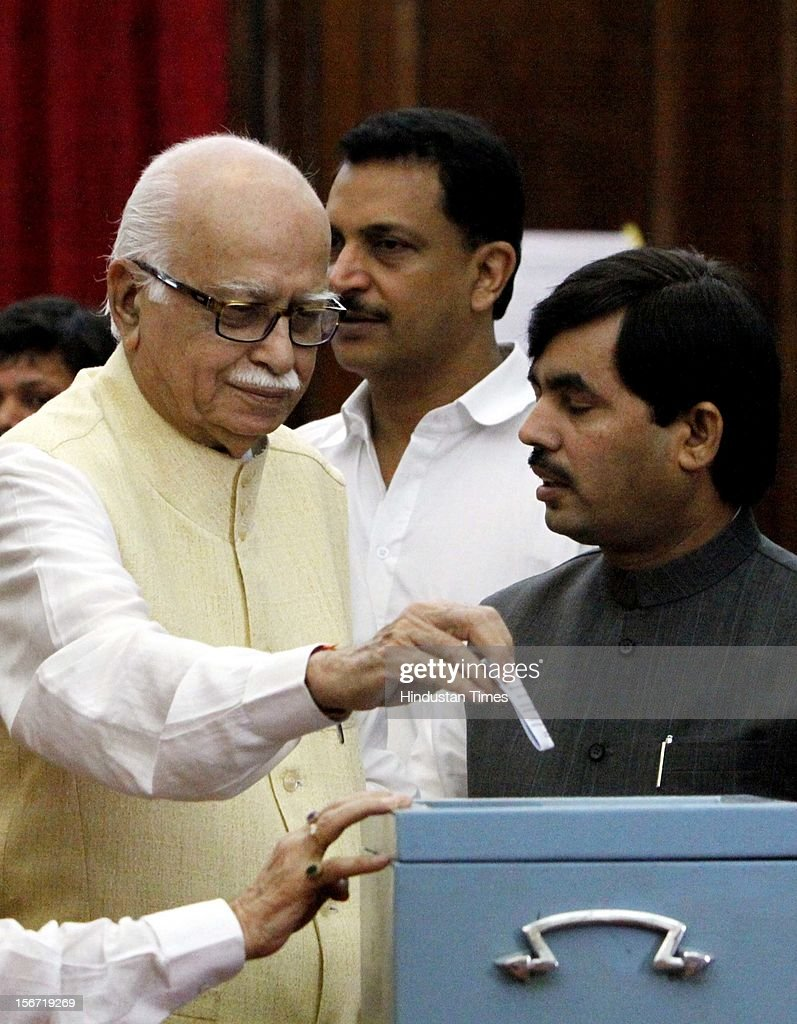 'NEW DELHI, INDIA - AUGUST 7: BJP leader L K Advani casting vote for the election of Vice President at Parliament house on August 7, 2012 in New Delhi, India. (Photo by Sunil Saxena/Hindustan Times via Getty Images)'