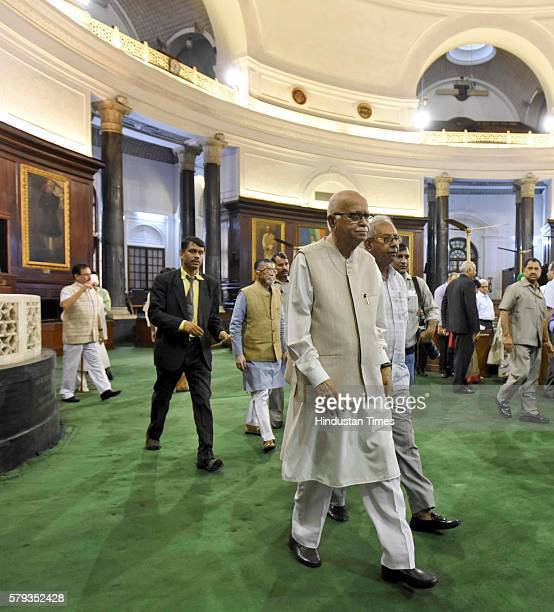 BJP leader Lal Krishna Advani after paying floral tributes to Lokmanya Bal Gangadhar Tilak on his birth anniversary at his portrait put up in the...