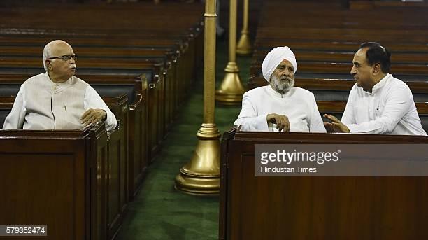 BJP leader Lal Krishna Advani talking to the member of the Rajya Sabha Subramanian Swamy after paying floral tributes to Lokmanya Bal Gangadhar Tilak...