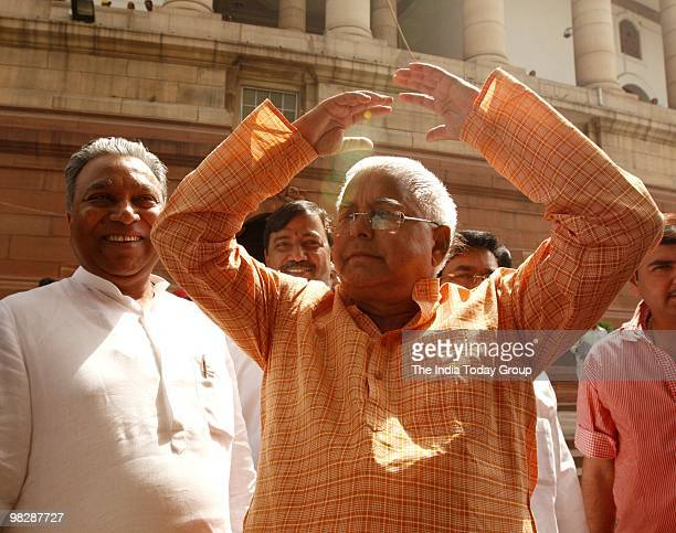 RJD leader Lalu Prasad at the allparty meeting to end the impasse over the Women's Reservation Bill on Monday April 5 2010